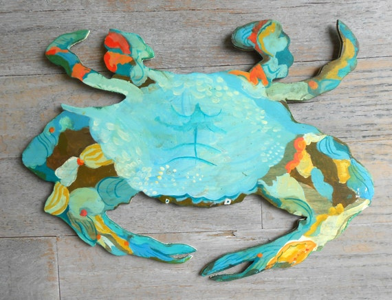 Blue Crab, Blue crab wood sign by Kimberly Hodges, lake house sign, wood wall art large, lake house decor, kitchen signage, wood crab sign