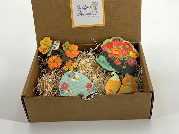 Woodland ornament set, fox ornament, hedgehog ornament, beehive ornament, chickadee ornament, tree ornaments, woodland animals