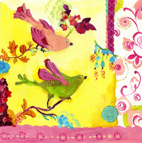 Yellow Berry Birds giclee print by Kimberly Hodges, 12 x 12, 14 x 14, 20 x 20