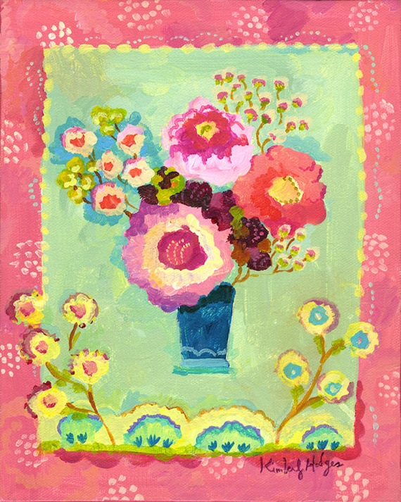 Petit Blue giclee print by Kimberly Hodges, flower art, petit art, flower bouquet, bedroom art, small art, pink flowers, small canvas