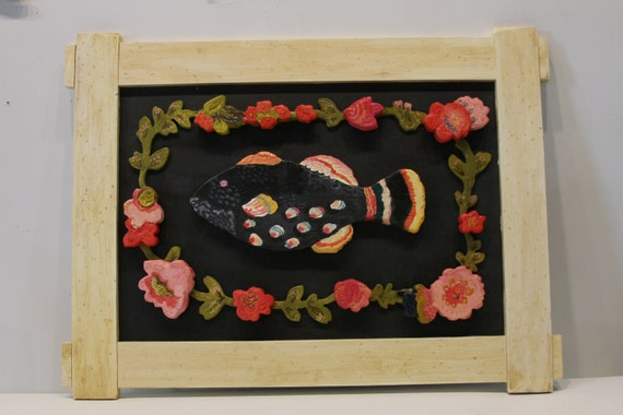 Japanese Blackfish wood sculpture with handmade carved frame by Kimberly Hodges, carved wood wall art, carved wood signs, coastal decor