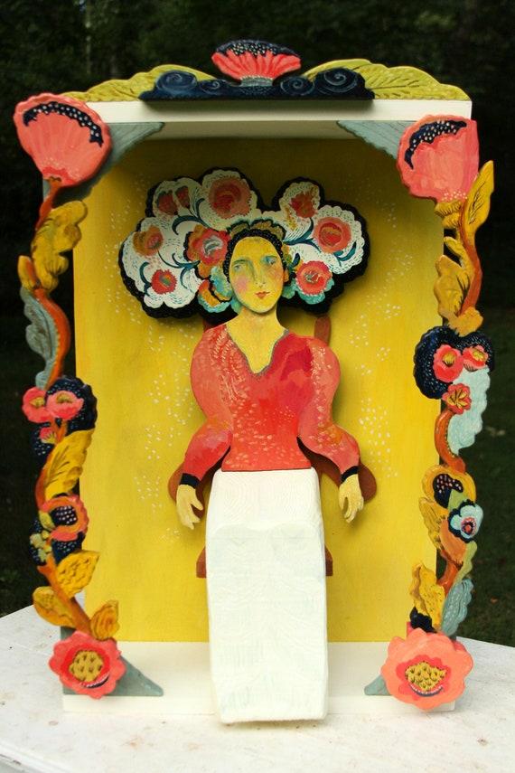 Tulip shrine by Kimberly Hodges, art shrine, folk art shrine, divine feminine art, goddess shrine, wood art, wood sculpture, wood figure