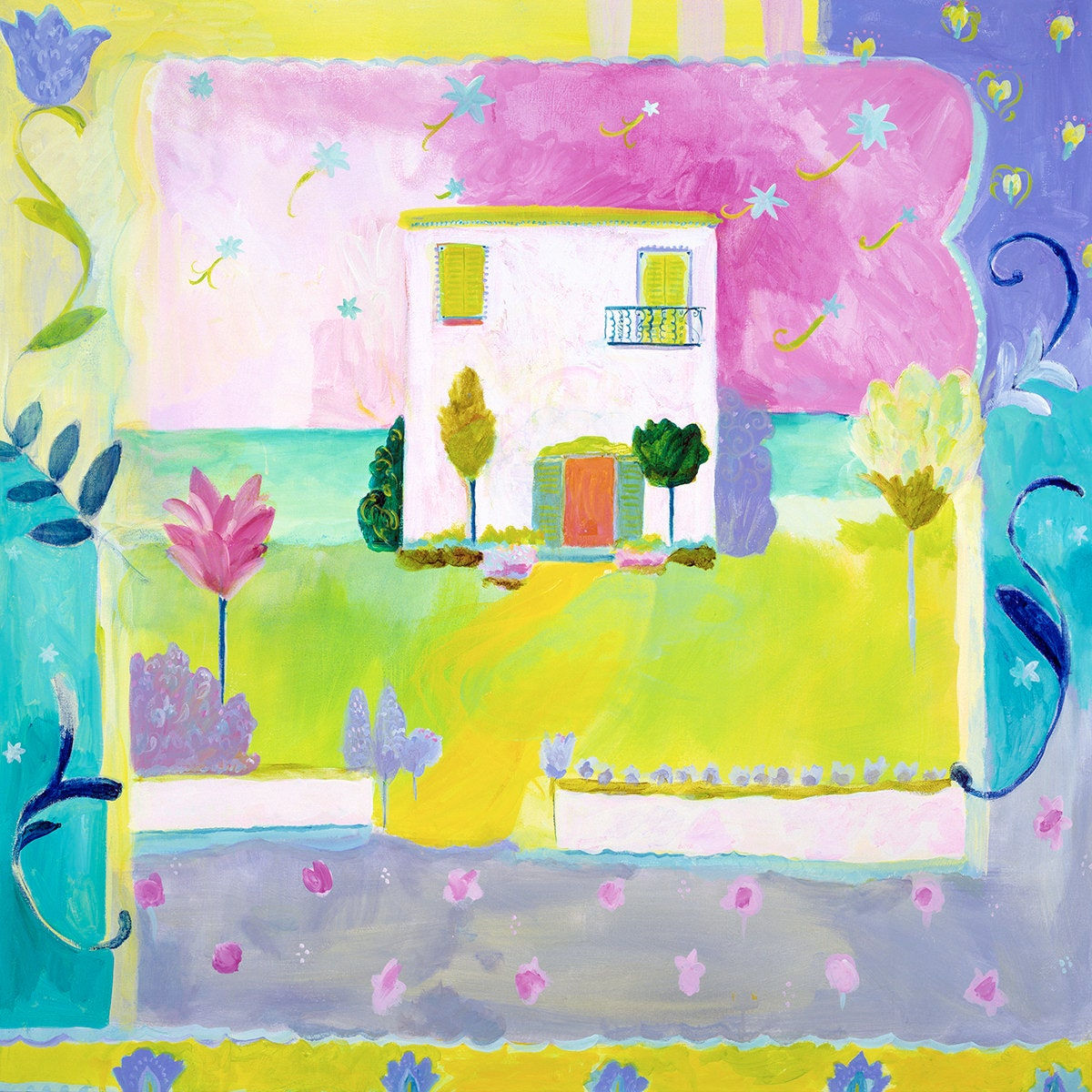 House by the sea canvas by Kimberly Hodges, 18x18 canvas, 24x24 ...