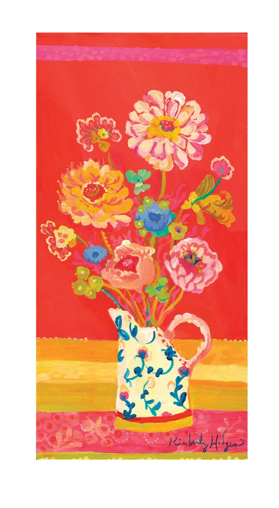 New Red Zinnia giclee canvas print by Kimberly Hodges, 10 x 20