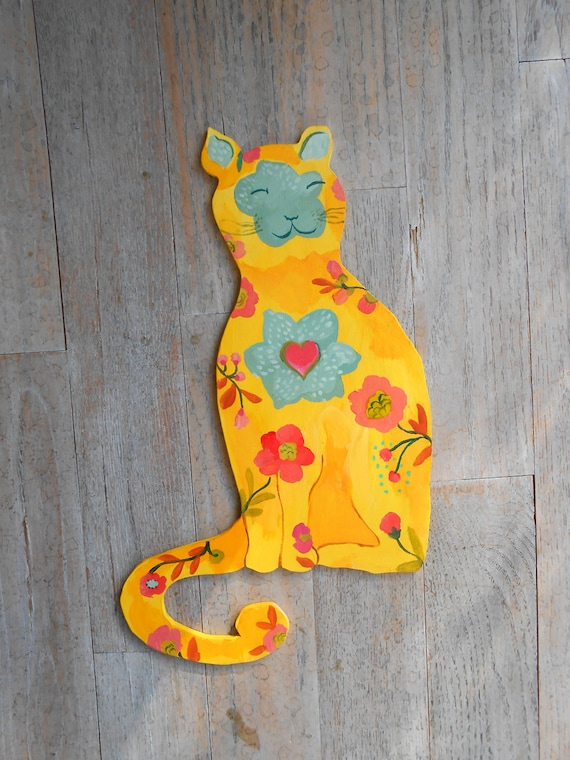 Happy cat handpainted wall sculpture/sign by Kimberly Hodges, cat sculpture, cat sign with sage, pink, yellow color options, nursery art