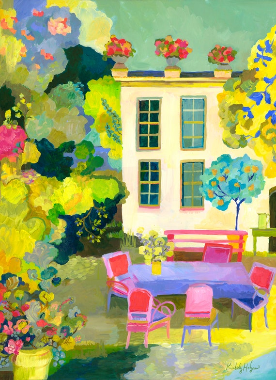 Provence summer canvas print by Kimberly Hodges, colorful art, provence style, large wall art, french country art, house in the country