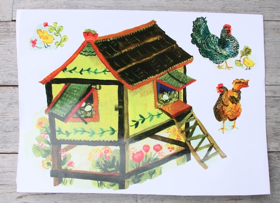 Chicken coop and chicken sticker set, chicken sticker set, hen and rooster stickers, chick decals, chicken coop, chicken decal set, chicks