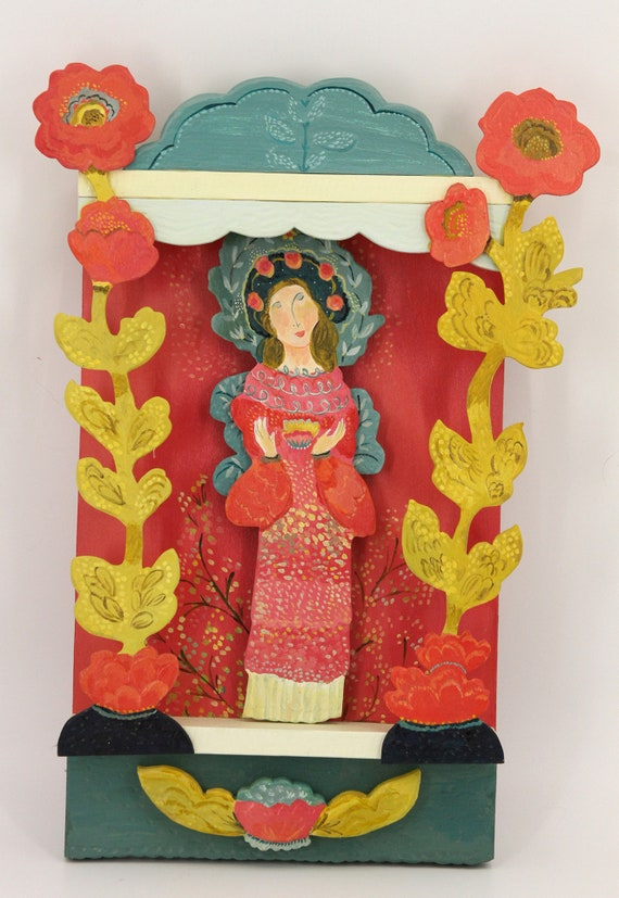 Marin shrine folk art sculpture by Kimberly Hodges, carved wood sculpture, goddess statue,