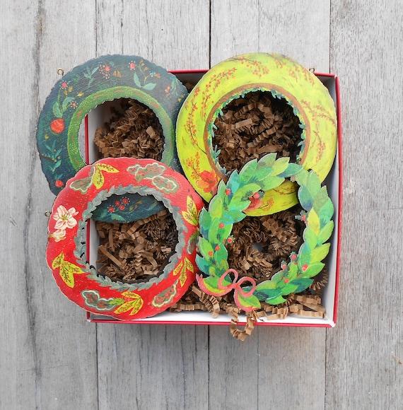 Xmas ornament sets, rustic ornament set, xmas gift ideas, boho Christmas ideas, rustic ornament, wood ornament tree, mini wreaths