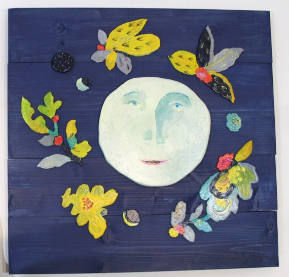 Wild Man in the Moon returns folk art sculpture by Kimberly Hodges, moon phase art, moon folk art, moon wall hanging, moon phases, moon art