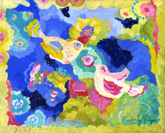 Nightbirds Giclee print on watercolor paper or stretched canvas by Kimberly Hodges, 11 x 14, 16 x 20, 20 x 25
