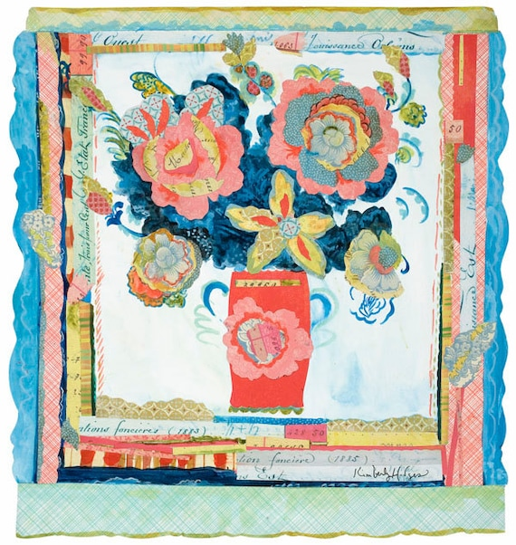 "Peony Collage 29,960 12"" x 12"" Archival Print by Kimberly Hodge, peony art, collage art"
