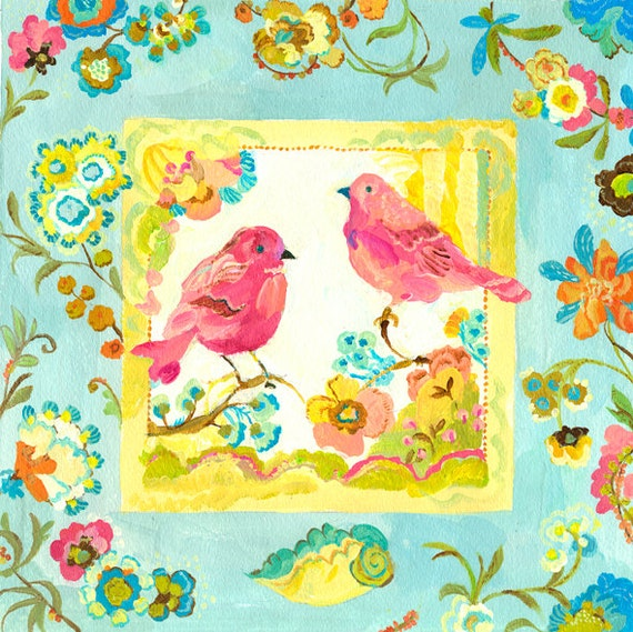 Lovebirds giclee print by Kimberly Hodges, 12 x 12, 14 x 14, 20 x 20