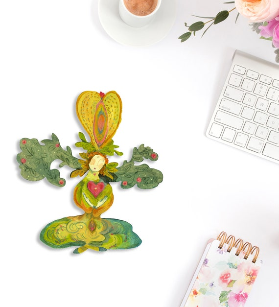Green goddess laptop decal, heart goddess, yoni goddess, macbook pro sticker, stickers macbook pro, macbook pro decal, goddess decal