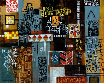 Lost in the Souk, Abstract, Original Acrylic Painting on Canvas