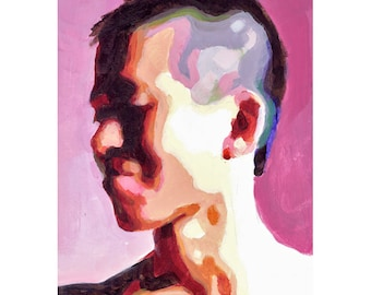 Small Portrait of Khanh 2, 4x6 gouache portrait painting of young Asian male