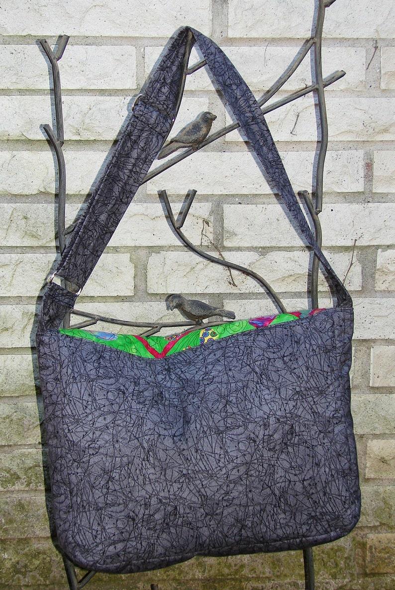 Appliqued Green Batik #2 Messenger Bag