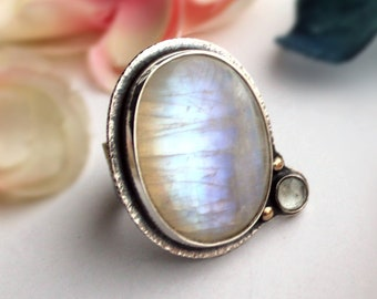 Fits Size 8 1/4-  Moonbeam Ring - Rainbow Moonstone and Aquamarine Ring with 14K Gold - Gemstone Ring - Sterling Silver Jewelry