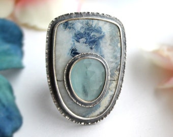 DISCOUNTED - Fits Size 7 3/4 - Cobalt Blue Lace & Aquamarine Stone on Stone Ring - Sterling Silver Blue Gemstone Jewelry
