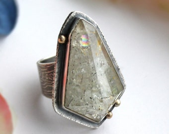 Fits Size 8 - Lumiere Ring - Faceted Phantom Quartz Ring with 14K Gold - Silver Jewelry - Crystal Quartz Gemstone Silversmith Ring