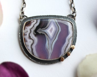 Purple Passion Agate Pendant in Sterling Silver Mens Necklace Purple Real Stone For Men Gift Lace Agate Necklace Hand Cut Agate Cabochon