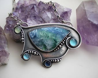 RESERVED - Deposit Listing - Island Oasis Necklace - Quartz & Selenite, Topaz, Sapphire, and Chalcedony Sterling Silver Pendant