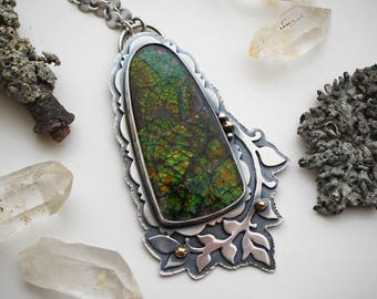 ON SALE! The Magic of Trees Necklace - Large Ammolite, 14K Gold, & Sterling Silver Pendant - Silversmith Statement Leaf Jewelry