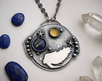 Girl of the Cosmos Silversmith Necklace with Lapis Lazuli, Rutilated Quartz, and Citrine - Gemstone Moon & Star Artisan Statement Jewelry