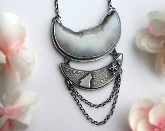 Brazilian Agate Druzy Wolf Totem Necklace - Sterling Silver Crescent Moon Drusy Jewelry - Silversmith Statement Artisan Pendant