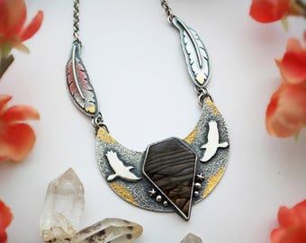 Take Flight Necklace - Biggs Jasper, 24K Gold Keum Boo, & Sterling Silver Hawk Totem Pendant - Rustic Bird Feather Artisan Statement Jewelry