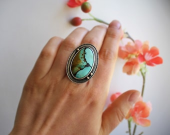 Fits Size 6 1/2 - Western Skies Ring - Hubei Turquoise Statement Ring with 14K Gold - Sterling Silver Ring - Stone Silversmith Ring