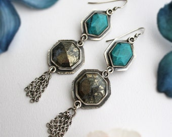 Sterling Silver, Marcasite, and Chrysocolla Dangle Earrings - Multi Stone Blue and Gold Gemstone Metalwork Jewelry -  Silversmith Jewelry