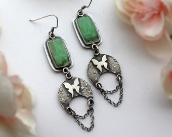 Crescent Moon Luna Moth Earrings with Variscite - Moon and Star Jewelry - Butterfly Totem Statement Gemstone Jewelry
