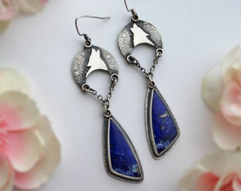 Crescent Moon Wolf Earrings with Lapis Lazuli - Moon and Star Jewelry - Animal Totem Statement Blue Gemstone Jewelry