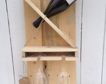 Hanging Wine Rack with space for two glasses