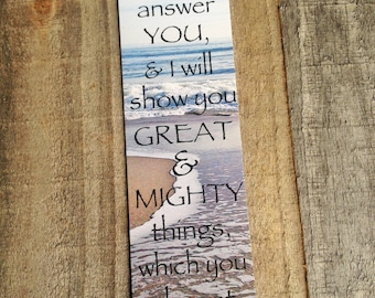 Ocean waves featuring original photo and Jeremiah 33:3 bookmark