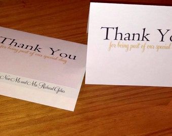 "10 ""Thank You"" Card to wedding vendors and staff. From the New Mr and Mrs."