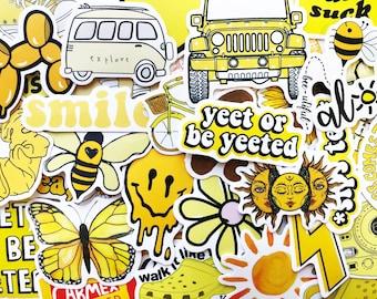 50 Cute Yellow Sticker Bomb Scrapbooking Laptop Phone Skin Lot Set Decals Decoration