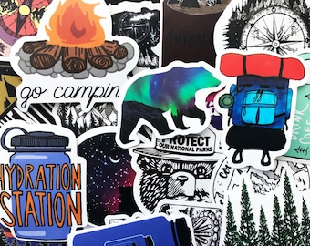 50 Outdoor Camping Hiking Stickers Pack Nature Set Lot