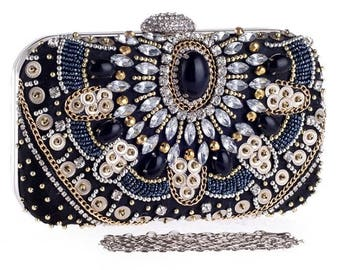 VERONICA luxury evening clutch bag rhinestone crystal beads, wedding party bridesmaid clutch bag, gift for her, high fashion accessories