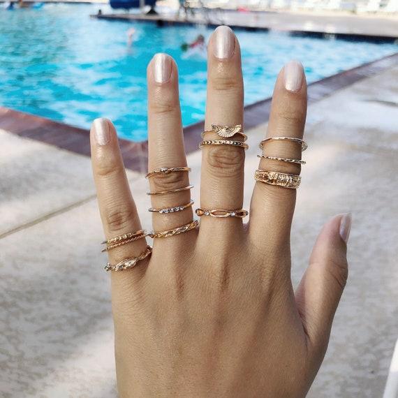 Emerald Inspired Ring Set Stacking Rings Tumblr Boho Gold Gift Ring Set Fashion Blogger Gold Ring Gift Set Statement Ring Christmas