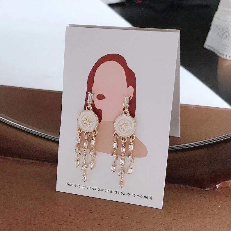 dream catcher earrings celestial boho earring 14k gold plated CZ earrings dangle drop earring geometric earring minimalist jewelry