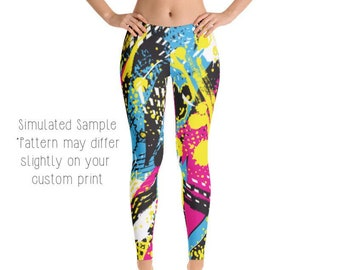 8504d15be9c1cb Graffiti LEGGINGS, Yoga Pants, 80's, Colorful, Zig Zag, Crazy, Patterned,  Skater, Exercise, Athletic, Kids, Youth, Capri, Plus -80s 3