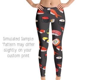 fdb56e3810 SUSHI LEGGINGS, Yoga Pants, Fish, Fresh, Seafood, Tuna, Wasabi, Rice,  Sashimi, California roll, Raw, Kids, Youth, Capri, Plus -Sushi1