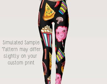 f18a593fcd1242 Popcorn, Cotton Candy, Pizza, Donuts, Ice Cream, Peppers, Cherries,  Strawberries, Choco Leggings, Yoga, Dough, Sweets, Baker, XS-XL-Junk1