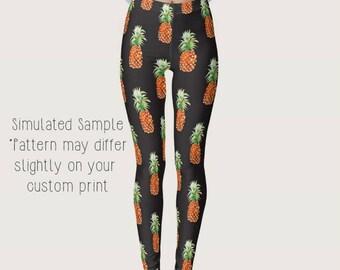 0a56a6884b1c26 Pineapple Leggings, Custom Designed, Stretchy Spandex, Full Length, Yoga  Pants, Island, Fruit, XS-XS Pineapples 1