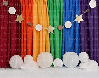 Indoor Baby Boys 1st Birthday Photo Booth Backdrop 8x6.5ft Vinyl Blue Green Balloon Bunches Paper Poms Cake Floral Number 1 French Fireplace Background Baby Birthday Party Banner Cake Smash