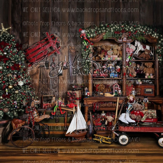 Santa S Workshop Photography Backdrop Toys Holiday Red Wagon Rocking Horse Garland Vintage Tools Sled 10x10 Polyester Material
