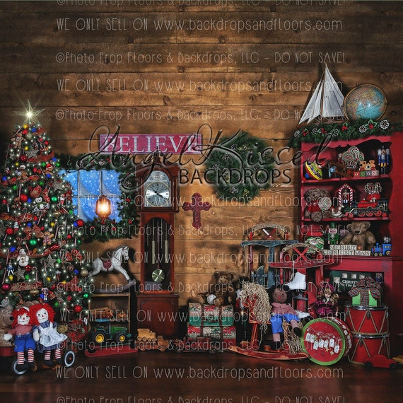 Santa S Workshop Photography Backdrop Cabin Cottage Christmas Tree Rustic Toys Believe Presents 10x10 Polyester Material Horizontal