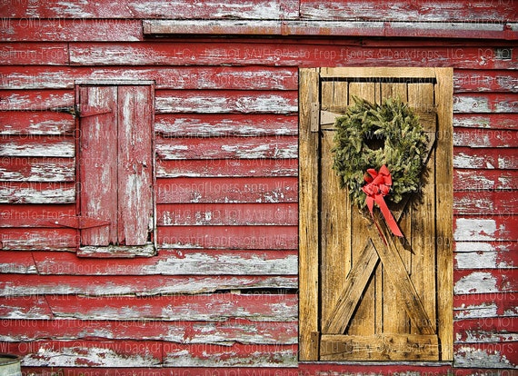 Rustic Red Wood Barn Christmas Photography Backdrop Etsy